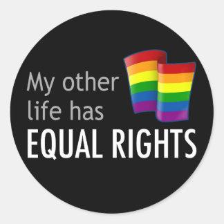 My Other Life Rainbow Round Dark Sticker