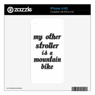 My Other Stroller Is A Mountain Bike iPhone 4 Decals