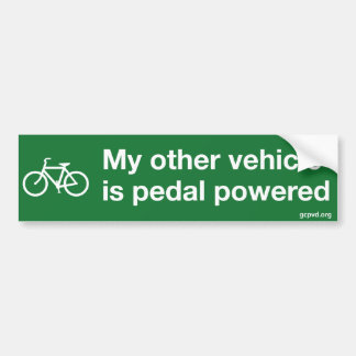 """My other vehicle is pedal powered"" bumper sticker"