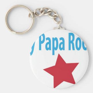 My papa rocks basic round button keychain