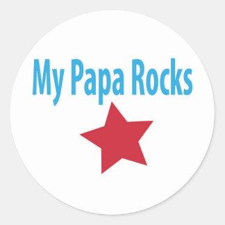 My papa rocks classic round sticker