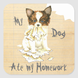 My Papillon Ate my Homework Square Sticker