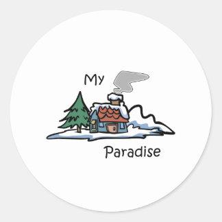 My Paradise Cabin Design Classic Round Sticker