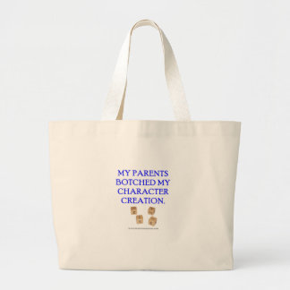 My Parents Botched My Character Creation Large Tote Bag