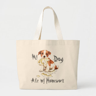 My Parson Russell Terrier Ate My Homework Large Tote Bag