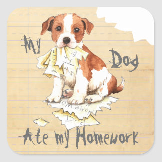 My Parson Russell Terrier Ate My Homework Square Sticker