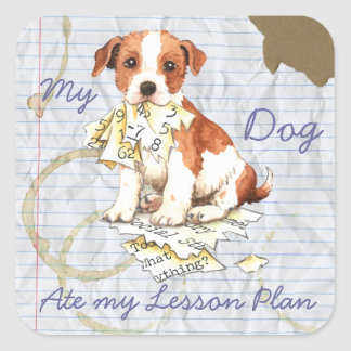 My Parson Russell Terrier Ate My Lesson Plan Square Stickers