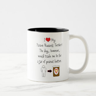 My Parson Russell Terrier Loves Peanut Butter Two-Tone Coffee Mug