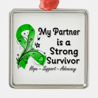My Partner is a Strong Survivor Green Ribbon Christmas Tree Ornament