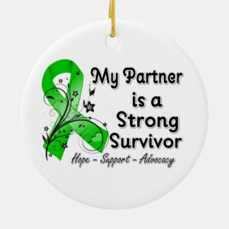My Partner is a Strong Survivor Green Ribbon Christmas Tree Ornaments