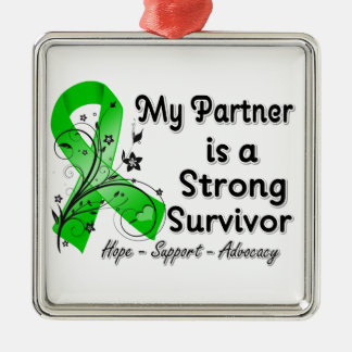 My Partner is a Strong Survivor Green Ribbon Christmas Ornaments
