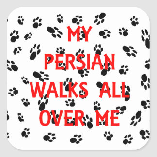 my persian walks on me square sticker