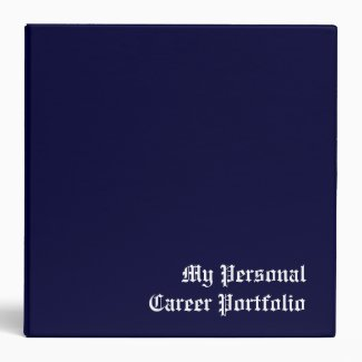 My Personal Career Portfolio 3 Ring Binder