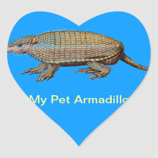 My Pet Armadillo - Cute & Cuddly - YES ! Heart Sticker