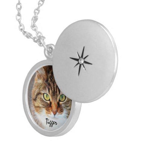 My Pet Cat Photo Template Locket Necklace
