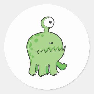 my pet cyclops monster green classic round sticker