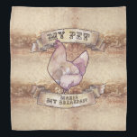 """My Pet Makes My Breakfast Watercolor Chicken Bandana<br><div class=""""desc"""">A watercolor hen is framed by scrollwork and the words &quot;My pet makes my breakfast&quot;.  A fantastic design for backyard chicken keepers and pet chicken owners.</div>"""