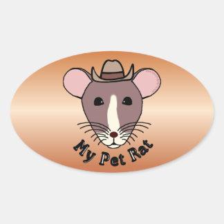 My Pet Rat (Cowboy) Oval Sticker