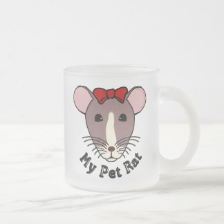 My Pet Rat (w/Red Bow) Frosted Glass Coffee Mug