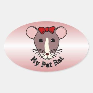 My Pet Rat (w/Red Bow) Oval Sticker