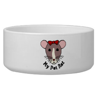 My Pet Rat (w/Red Bow) Dog Water Bowl