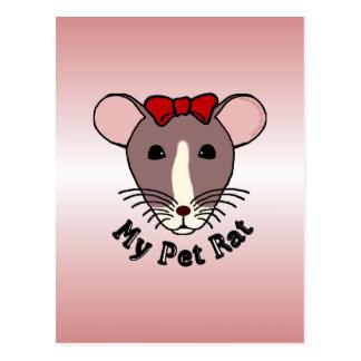My Pet Rat (w/Red Bow) Postcard