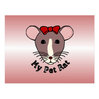 My Pet Rat (w/Red Bow) Post Card