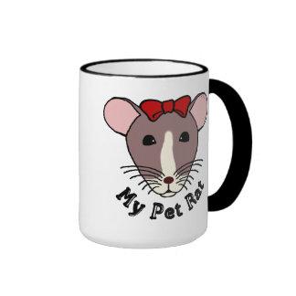 My Pet Rat (w/Red Bow) Ringer Mug