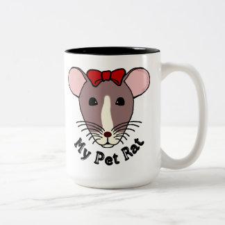 My Pet Rat (w/Red Bow) Two-Tone Coffee Mug