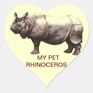 MY PET RHINOCEROS HEART STICKER