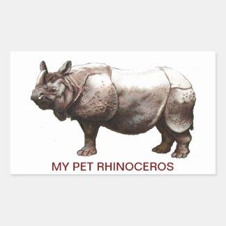 MY PET RHINOCEROS RECTANGULAR STICKER