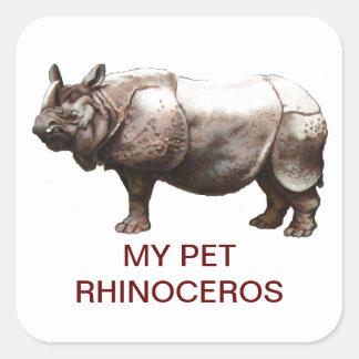 MY PET RHINOCEROS SQUARE STICKER