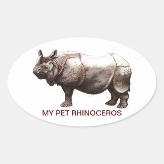 MY PET RHINOCEROS OVAL STICKERS