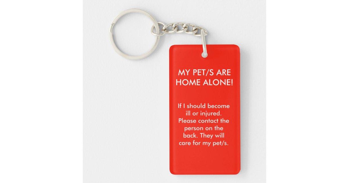 Pet home alone key tag