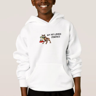 My Pit Bull Loves Zombies Youth Hoodie - Funny