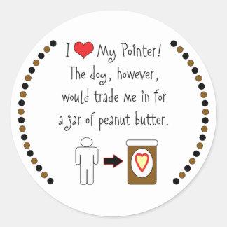 My Pointer Loves Peanut Butter Round Sticker