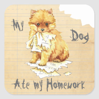 My Pomeranian Ate My Homework Square Sticker