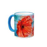 My Poppies in Bloom Ringer Coffee Mug