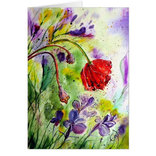 My Poppies in the Fall Card