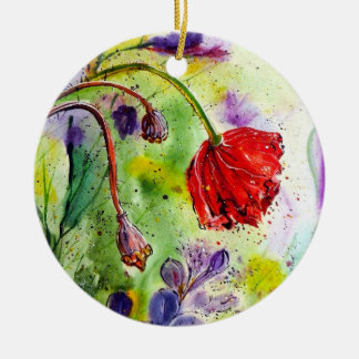 My Poppies in the Fall Ceramic Ornament