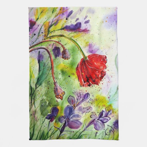My Poppies in the Fall Hand Towel