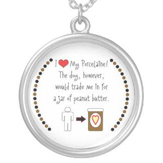 My Porcelaine Loves Peanut Butter Round Pendant Necklace