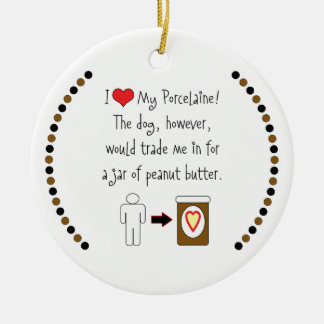 My Porcelaine Loves Peanut Butter Double-Sided Ceramic Round Christmas Ornament