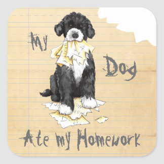 My Portuguese Water Dog Ate My Homework Square Sticker