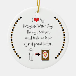 My Portuguese Water Dog Loves Peanut Butter Double-Sided Ceramic Round Christmas Ornament