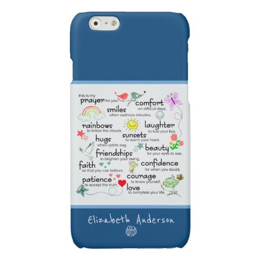 My Prayer For You Add Name | Classic Blue Glossy iPhone 6 Case