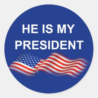My president classic round sticker