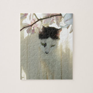 My Pretty White and Black Kitty Cat Jigsaw Puzzle