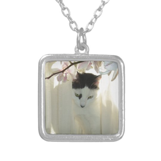 My Pretty White and Black Kitty Cat Silver Plated Necklace