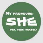 My Pronouns She Classic Round Sticker
